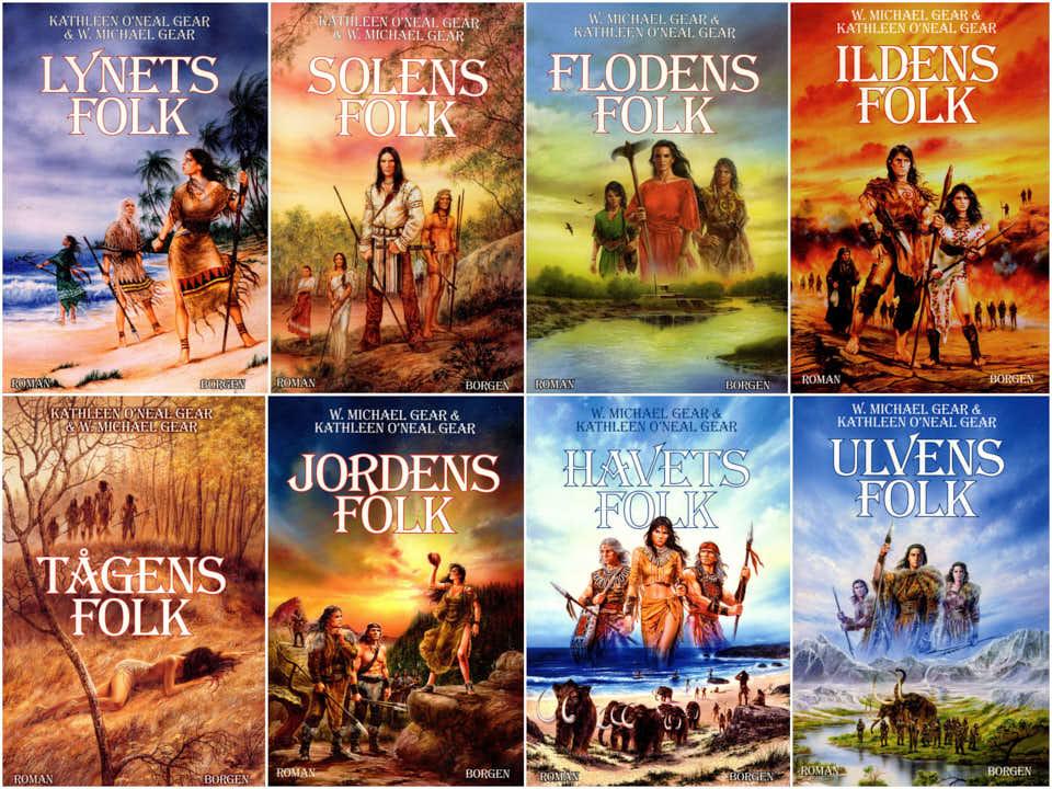 Jordens Folk  m.m. serie – W.Michael Gear/Kathleen O'Neal Gear. 600.-